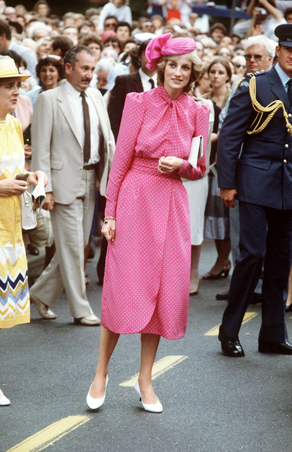 """<p>Turning to one of her signature prints, <a href=""""https://www.townandcountrymag.com/style/fashion-trends/g28367509/princess-diana-polka-dots-style/"""" rel=""""nofollow noopener"""" target=""""_blank"""" data-ylk=""""slk:polka dots"""" class=""""link rapid-noclick-resp"""">polka dots</a>, Princess Diana was really in the pink while visiting Freemantle Hospital in Australia.</p>"""