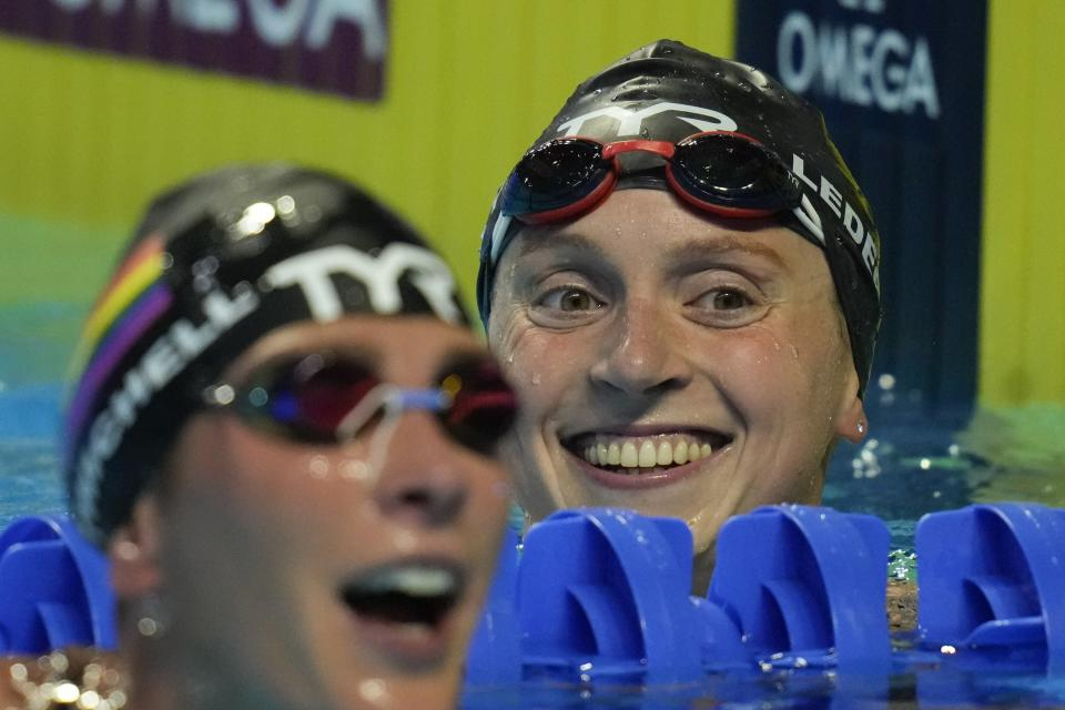 Katie Ledecky smiles after winning the women's 1500 freestyle during wave 2 of the U.S. Olympic Swim Trials on Wednesday, June 16, 2021, in Omaha, Neb. (AP Photo/Charlie Neibergall)