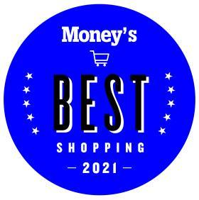 Money's Best Shopping Badge 2021 in blue, shopping cart in the circle with stars left and right.