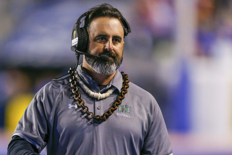 Hawaii head coach Nick Rolovich reacts during the second half of an NCAA college football game against Boise State, Saturday, Oct. 12, 2019, in Boise, Idaho. Boise State won 59-37. (AP Photo/Steve Conner)