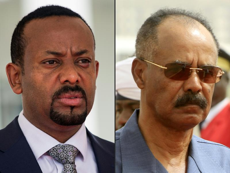 Ethiopia's Prime Minister Abiy Ahmed, on the left, and Eritrean President Isaias Afwerki signed a declaration ending the state of war between the two countries on July 9 (AFP Photo/Sumy SADRUNI, ASHRAF SHAZLY)