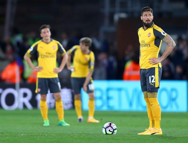 <p>Olivier Giroud prepares to kick off after Palace's third goal</p>