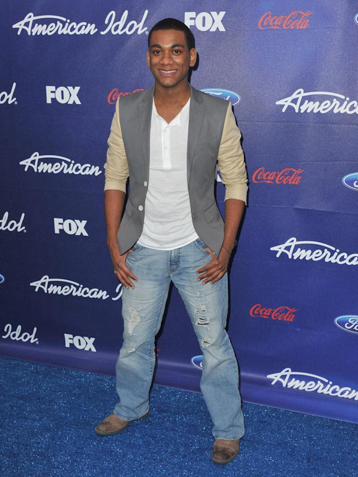 """Finalist Joshua Ledet attends the Season 11 """"<a href=""""http://tv.yahoo.com/american-idol/show/34934"""">American Idol</a>"""" Top 13 Finalists Party on Thursday, March 1 at The Grove in Los Angeles, CA."""