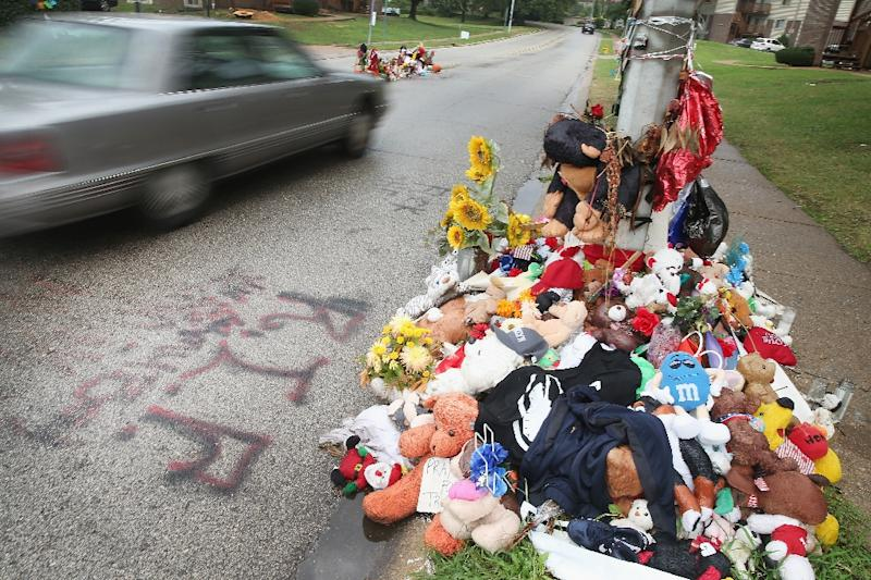 A rain-soaked memorial remains at the location where teenager Michael Brown was shot and killed by Ferguson police officer Darren Wilson in Ferguson, Missouri (AFP Photo/Scott Olson)