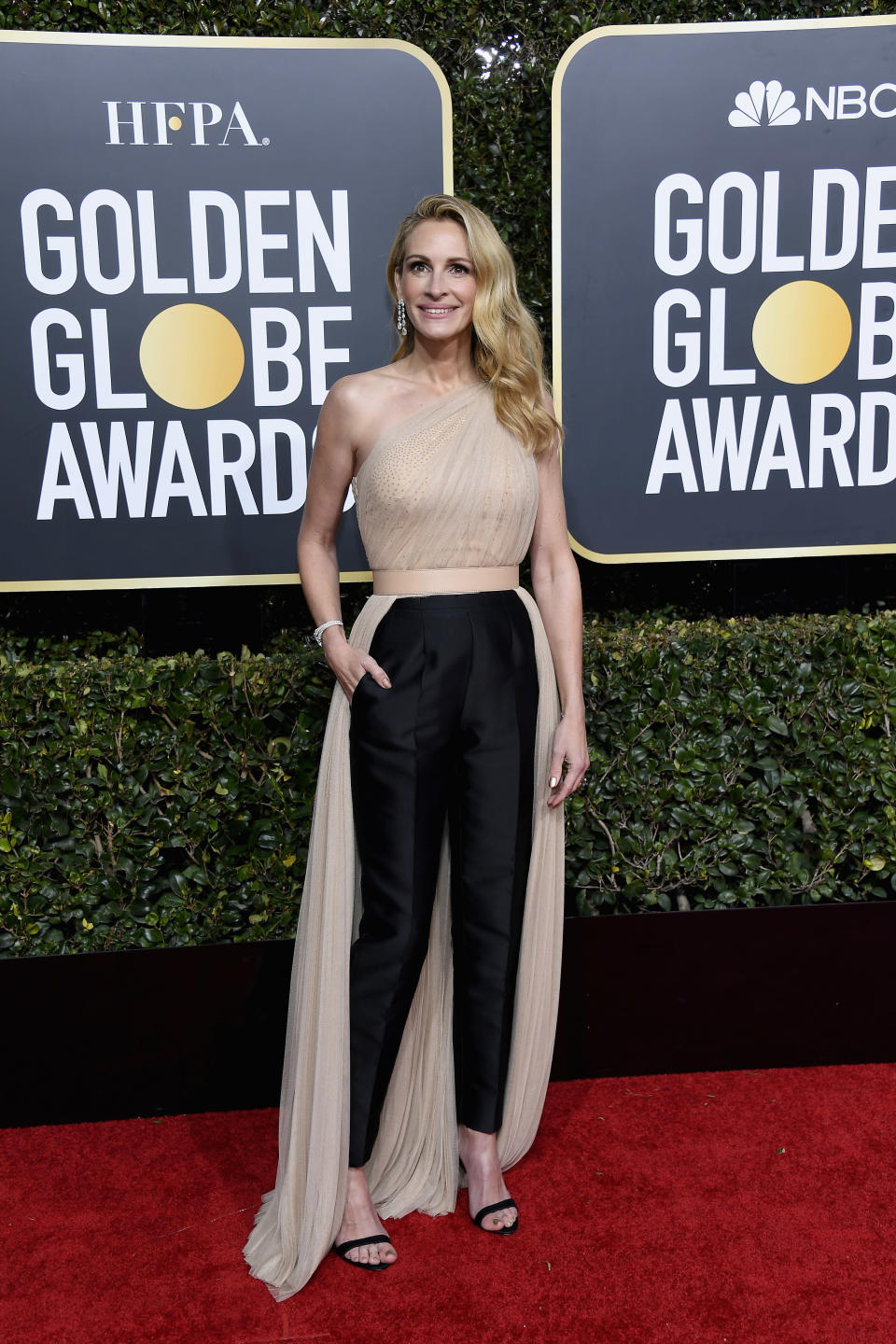 "<p>A nominee for her role in ""Homecoming,"" Roberts looked chic in a pantsuit by Stella McCartney. Image via Getty Images. </p>"