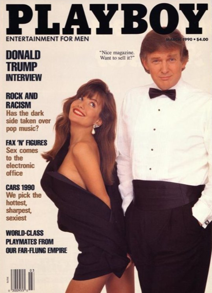 <p>Yes, the President of the United States once featured on the cover of Playboy. Dressed in a typical tux, Donald Trump posed smugly next to Playmate Brandi Brandt.<br /><i>[Photo: Playboy]</i> </p>