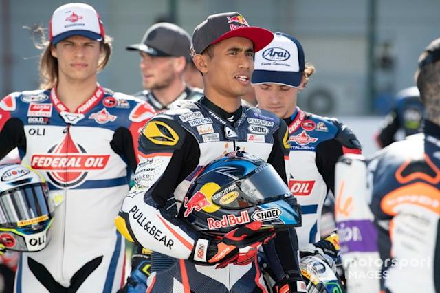 "Hafizh Syahrin, Aspar Team <span class=""copyright"">Gold and Goose / Motorsport Images</span>"