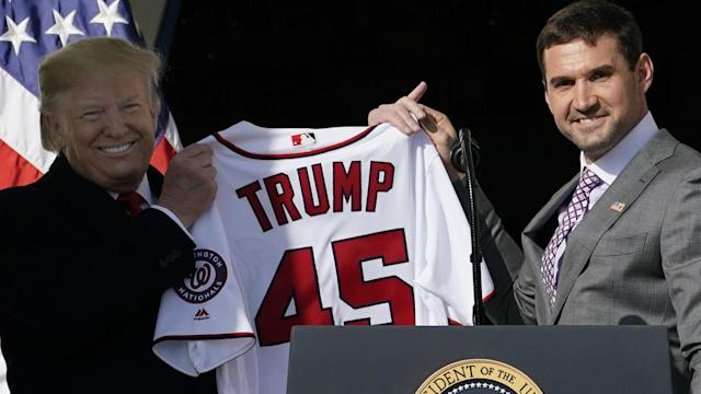 The Nationals' celebrations continued on Monday as Washington took to the White House steps with Donald Trump in DC.