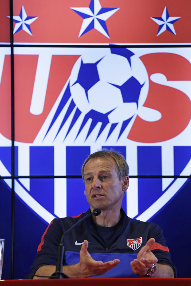 Head coach of United States soccer team, Jurgen Klinsmann, talks during a press conference after a training session in Sao Paulo, Brazil, Tuesday, Jan. 14, 2014. The US national soccer team is on a training program to prepare for the World Cup tournament that starts in June. (AP Photo/Nelson Antoine)