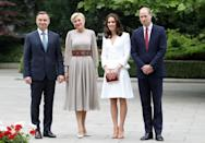 <p><b><b><b>The Duke and Duchess' first stop-off in Warsaw was to meet with President Andrzej Duda and his wife, Agata, at the Presidential Palace. <em>[Photo: PA]</em> </b></b></b></p>