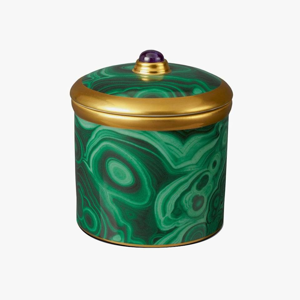 "This fancifully packaged candle will look lovely on any coffee table. $150, NEIMNAN MARCUS. <a href=""https://www.neimanmarcus.com/p/lobjet-malachite-candle-prod204270432"" rel=""nofollow noopener"" target=""_blank"" data-ylk=""slk:Get it now!"" class=""link rapid-noclick-resp"">Get it now!</a>"