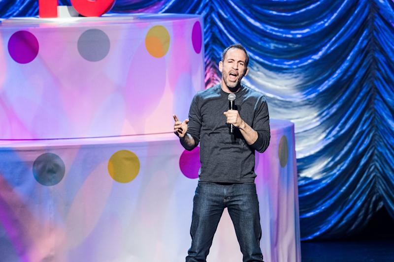 "Bryan Callen performs at KROQ's ""Kevin & Bean's April Foolishness"" in 2018."