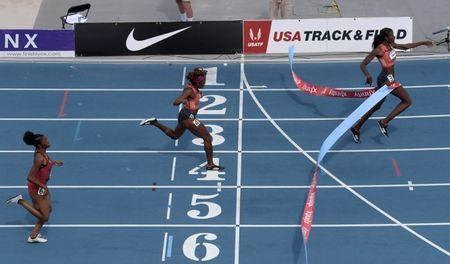 Jun 23, 2018; Des Moines, IA, USA; Shakima Wimbley (3) defeats Jessica Beard (4) and Kendall Ellis (6) to win the women's 400m in a stadium record 49.52 during the USA Championships at Drake Stadium. Beard was second in 50.08 and Ellis was third in 50.37. Mandatory Credit: Kirby Lee-USA TODAY Sports