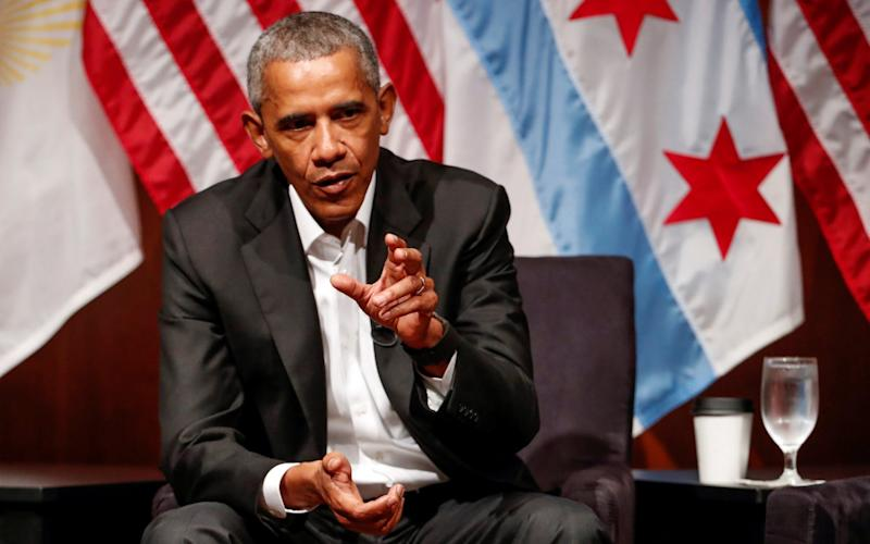 Former U.S. President Barack Obama speaks during a meeting with youth leaders at the Logan Center for the Arts at the University of Chicago to discuss strategies for community organization and civic engagement in Chicago, Illinois, U.S., April 24, 2017 - Credit: Kamil Krzaczynski/REUTERS