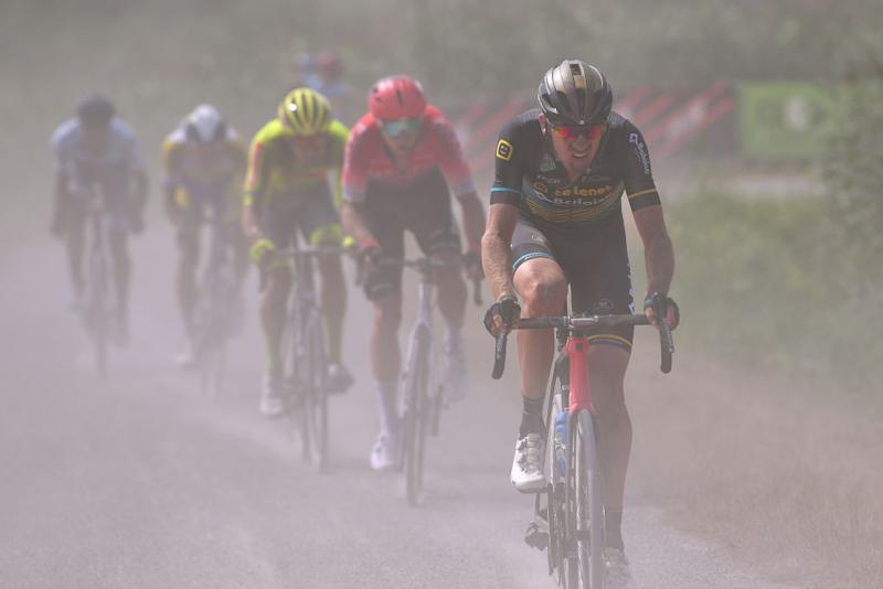 DIEST BELGIUM AUGUST 15 Toon Aerts of Belgium and Team Telenet Lions Dust Gravel Strokes during the 17th Dwars door het Hageland 2020 a 187km race from Aarschot to Diest DwarsdhHageland DDHH20 on August 15 2020 in Diest Belgium Photo by Luc ClaessenGetty Images