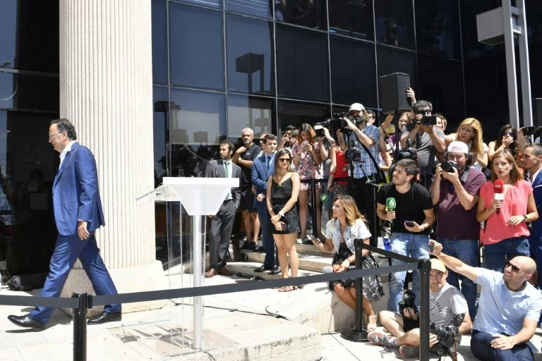 Members of the press gather outside a court in Pozuelo de Alarcon, in Spain, where Cristiano Ronaldo appeared, on July 31, 2017
