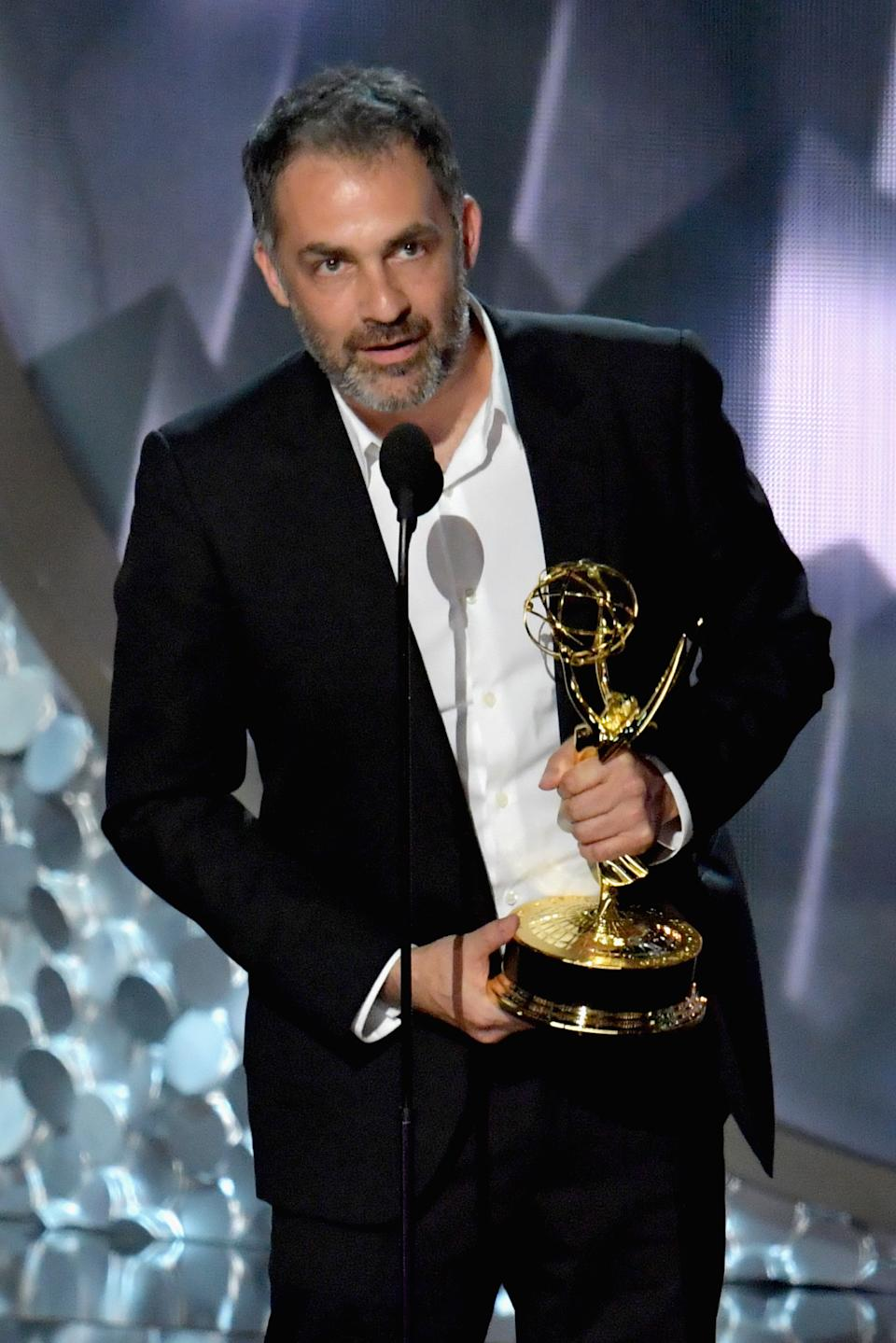 LOS ANGELES, CA - SEPTEMBER 18:  Director Miguel Sapochnik accepts the Oustanding Directing for a Drama Series award for the 'Game of Thrones' episode 'Battle of the Bastards' onstage during the 68th Annual Primetime Emmy Awards at Microsoft Theater on September 18, 2016 in Los Angeles, California.  (Photo by Lester Cohen/WireImage)