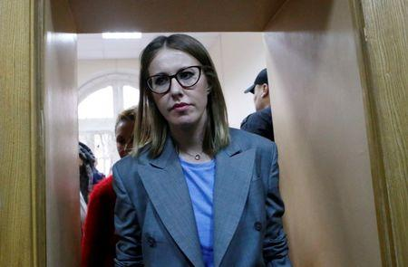 Russian TV personality Ksenia Sobchak arrives for a trial of Russian theatre director Kirill Serebrennikov, who was accused of embezzling state funds and placed under house arrest, in Moscow
