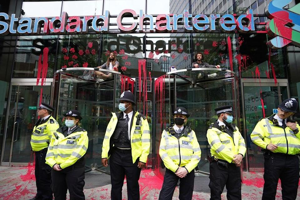 The Standard Chartered building was also targeted (Stefan Rousseau/PA) (PA Wire)