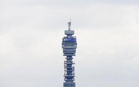 The BT communication tower is seen from Primrose Hill in London