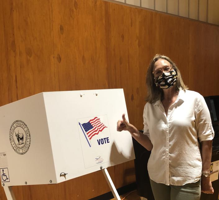 Bridget Fleming participating in early voting Sunday. / Courtesy Bridget Fleming.