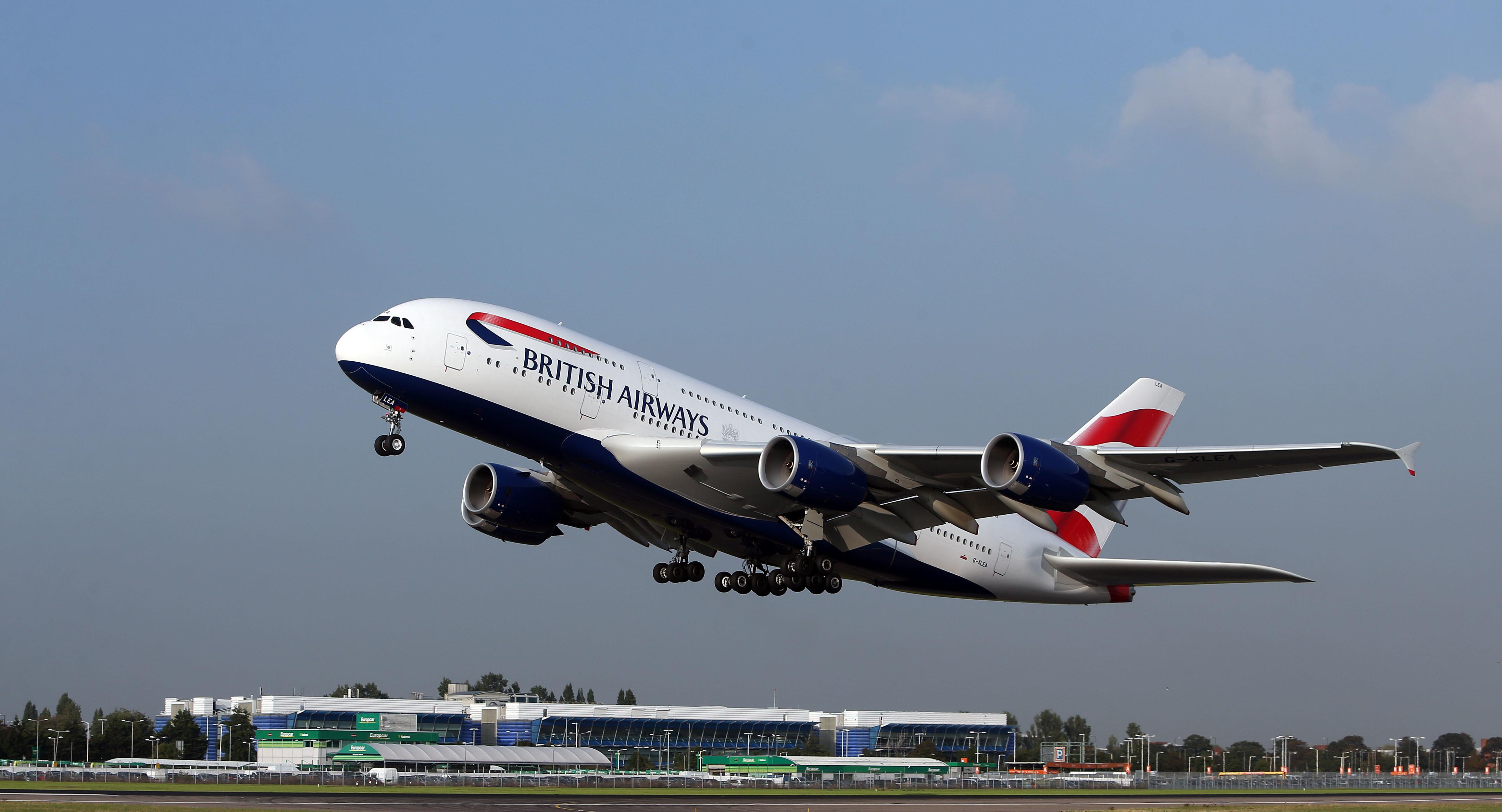 File photo dated 24/9/2013 of a British Airways' A380 taking off from London's Heathrow airport. The airline has said that it has suspended all flights to and from mainland China with immediate effect after the Foreign Office warned against �all but essential travel� to the country because of the coronavirus.