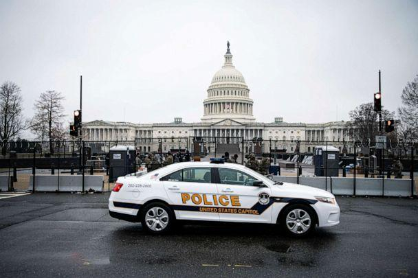 PHOTO: A U.S. Capitol Police car drives past the U.S. Capitol in Washington, D.C., Jan. 26, 2021. (Alexander Drago/Reuters)