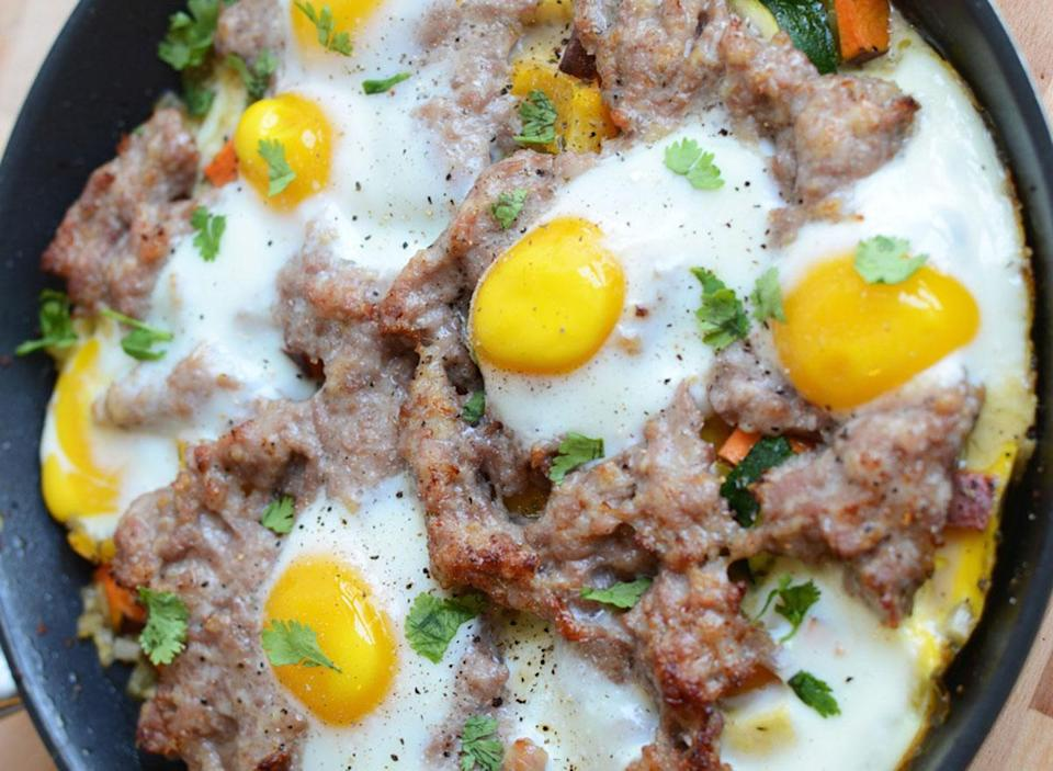 garden veggie scramble with breakfast sausage and baked eggs recipe