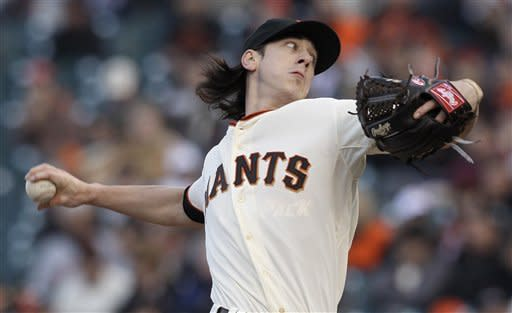 San Francisco Giants' Tim Lincecum pitches to the Colorado Rockies during the first inning of a baseball game in San Francisco, Tuesday, May 15, 2012. (AP Photo/Jeff Chiu)