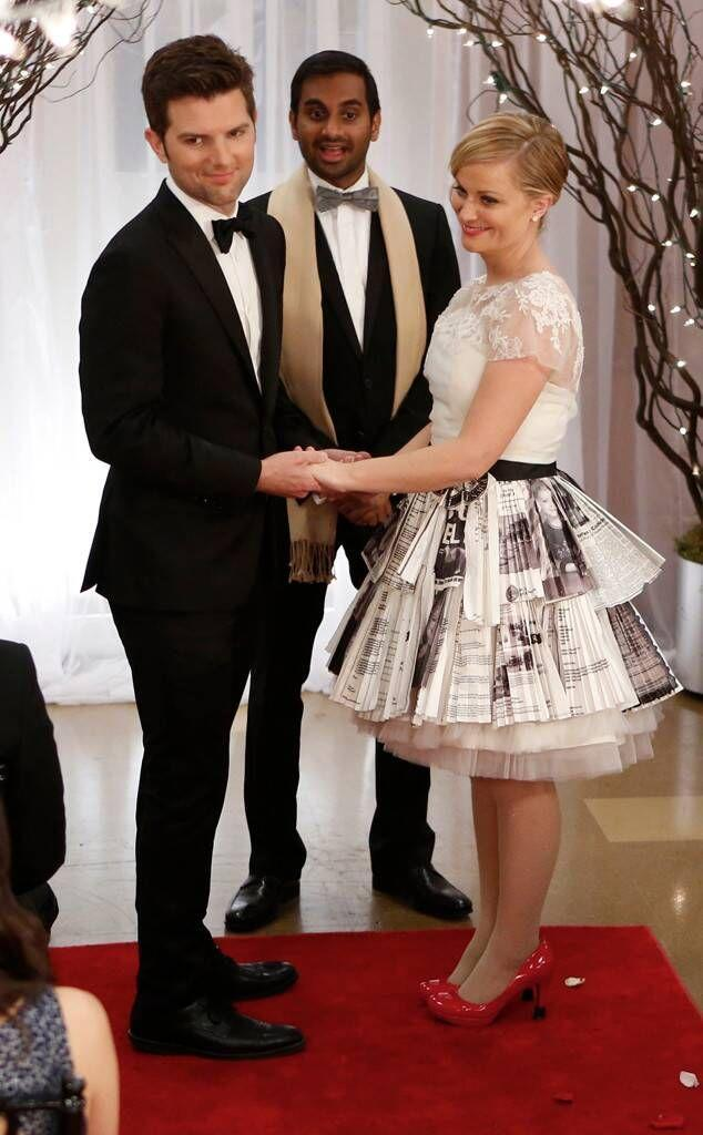 """<p>When Ben and Leslie were in a rush to get married on <em>Parks and Rec</em>, Leslie asked her BFF Ann to finish her half-made wedding dress, asking for """"the sensuality of Eleanor Roosevelt combined with the animal magnetism of Leslie Stahl."""" What Ann came up with was a skirt made of meaningful bills and images from her career. Very Leslie, no?<br></p>"""