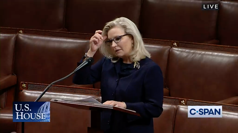 In this video frame grab taken from C-SPAN television, House Republican Conference Chair Rep. Liz Cheney, R-Wyo., speaks on the floor of the House of Representatives in Washington, onTuesday May 11, 2021. House Minority Leader Kevin McCarthy, R-Calif., has set a Wednesday vote for removing Cheney from her No. 3 Republican leadership post after Cheney repeatedly challenged former President Donald Trump over his claims of widespread voting fraud and his role in encouraging supporters' Jan. 6 attack on the Capitol