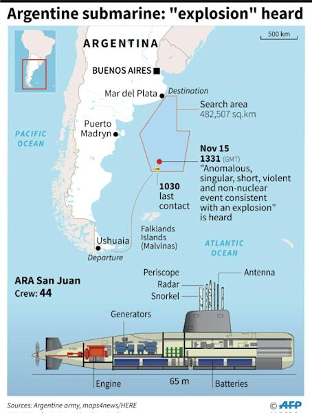 Search zone for the missing Argentinian submarine after authorities report having recorded an explosion