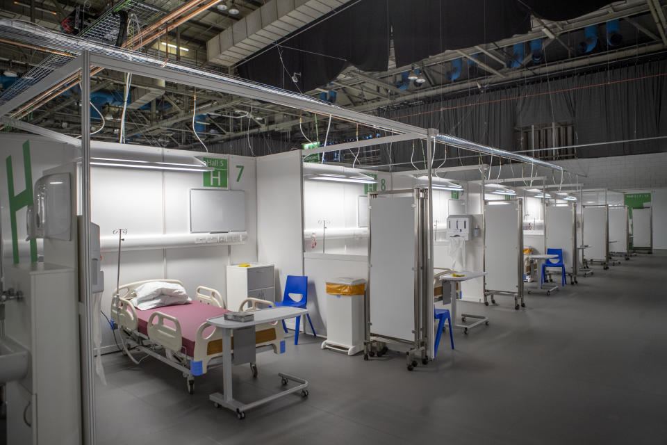 Patient bays after the completion of the construction of the NHS Louisa Jordan hospital, built at the SEC Centre in Glasgow, to care for coronavirus patients.