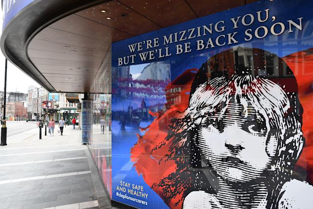 The government is examining special measures to support the UK's ailing theatre sector. (Justin Tallis/AFP via Getty Images)