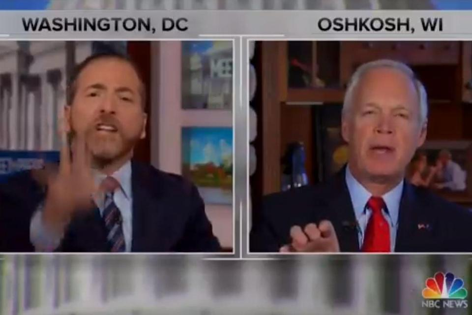 <p>Chuck Todd berates Senator Ron Johnson for pushing a 'conspiracy theory'. This isn't Johnson's first rodeo</p> (MSNBC)