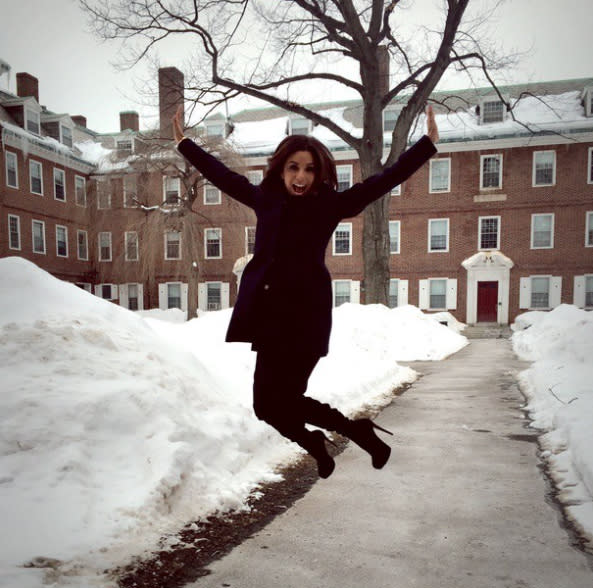 "<p>She did it at Harvard, too. (Photo: <a rel=""nofollow"" href=""https://www.instagram.com/p/zX-9hiiGpD/?taken-by=evalongoria"">Instagram</a>) </p>"