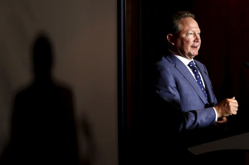 FILE PHOTO: Andrew Forrest, chairman of Fortescue Metals Group, speaks during a media conference in Sydney