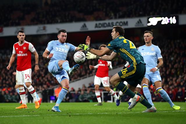 Emiliano Martinez was the busier of the two goalkeepers by some way in the first half. (Photo by Julian Finney/Getty Images)