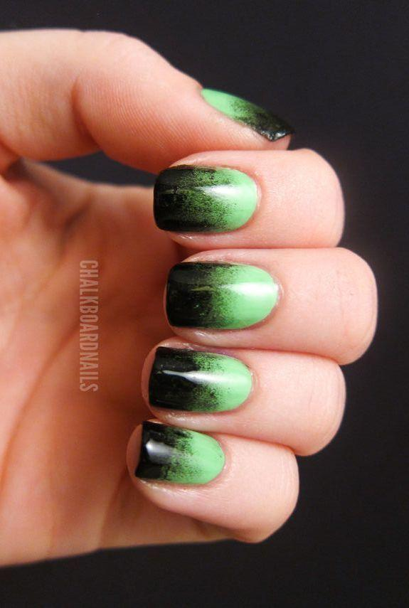 "<p>We like to think the Bride of Frankenstein would rock these ghoulish nails. Join her ranks. </p><p><em><a href=""http://www.chalkboardnails.com/2011/10/festive-green-gradient.html"" rel=""nofollow noopener"" target=""_blank"" data-ylk=""slk:Get the tutorial at Chalkboard Nails »"" class=""link rapid-noclick-resp"">Get the tutorial at Chalkboard Nails »</a></em></p><p><a class=""link rapid-noclick-resp"" href=""https://www.amazon.com/TOODOO-Picking-Dotting-Gradient-Replacement/dp/B077P2LP25/?tag=syn-yahoo-20&ascsubtag=%5Bartid%7C10055.g.1421%5Bsrc%7Cyahoo-us"" rel=""nofollow noopener"" target=""_blank"" data-ylk=""slk:SHOP NAIL SPONGE"">SHOP NAIL SPONGE</a> </p>"