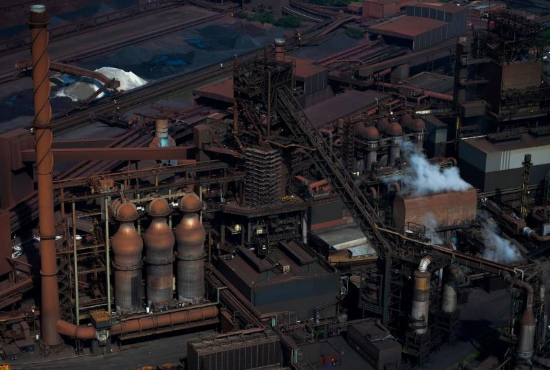 This aerial view shows a blast furnace at the plant of German industrial conglomerate ThyssenKrupp in Duisburg, western Germany, on May 8, 2020. (Photo by Ina FASSBENDER / AFP) (Photo by INA FASSBENDER/AFP via Getty Images)