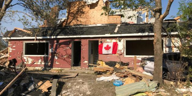 Alex Carlson shares a picture of what's left of his Dunrobin, Ont. home after it was damaged by a tornado.