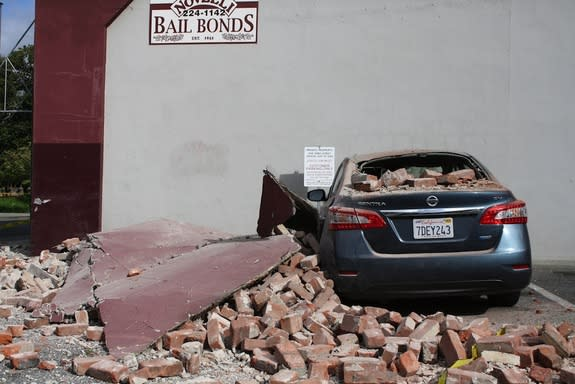 Damage in downtown Napa, from a 6.0-magnitude that struck Northern California on Aug. 24, 2014.