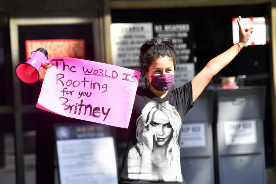 Supporters of the #FreeBritney movement flew to Los Angeles from across the US to protest. (Frazer Harrison/Getty Images)