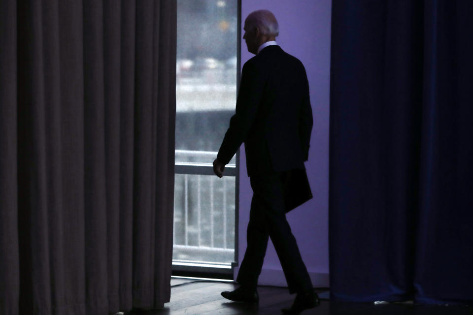 Democratic presidential candidate former Vice President Joe Biden leaves after making a foreign policy statement, in New York, Tuesday, Jan. 7, 2020. (AP Photo/Richard Drew)