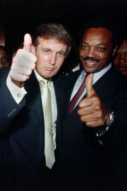 PHOTO: Donald Trump joins Jesse Jackson at a party at Trump Plaza before the Tyson-Spinks title fight in 1988. (Getty Images)