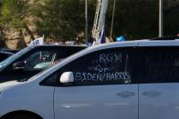 """A vehicle with the message """"RGV (Rio Grande Valley) for Biden/Harris"""" is seen during a campaign event where U.S. Democratic vice presidential nominee Senator Kamala Harris (not pictured) speaks in Edinburg, Texas"""