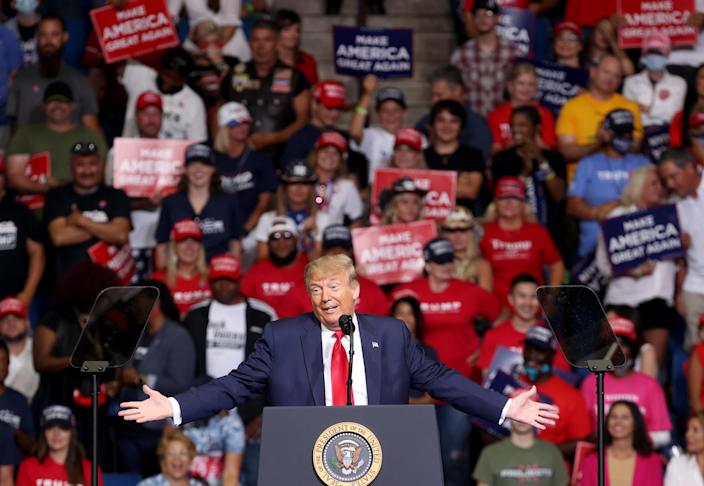 U.S. President Donald Trump speaks at a campaign rally at the BOK Center, June 20, 2020 in Tulsa, Oklahoma. Trump is holding his first political rally since the start of the coronavirus pandemic at the BOK Center today while infection rates in the state of Oklahoma continue to rise. (Win McNamee/Getty Images)