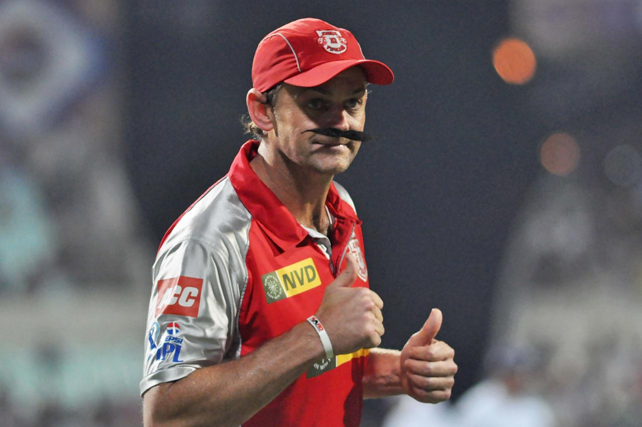 KXIP captain Adam Gilchrist in action during the match between Kolkata Knight Riders and Kings XI Punjab at Eden Gardens in Kolkata on April 26, 2013. (Photo: IANS)