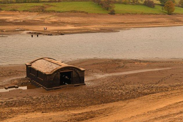 The pump house from Derwent village, flooded to create the reservoir in 1943.