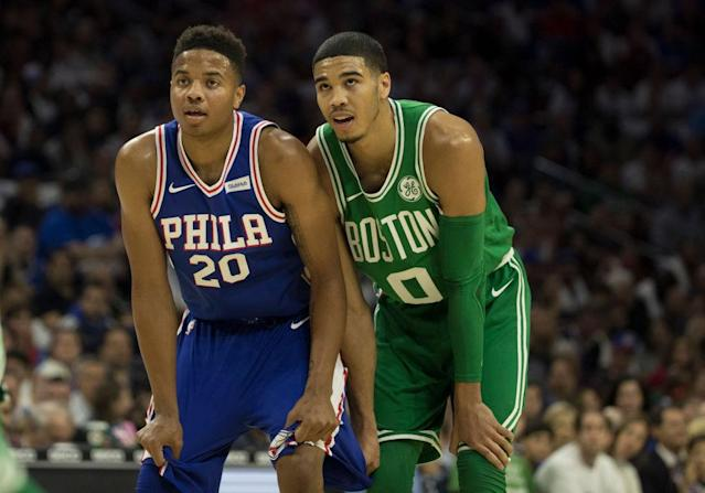 Top-three picks Markelle Fultz and Jayson Tatum have gone in different directions in their first two NBA seasons. (Getty Images)